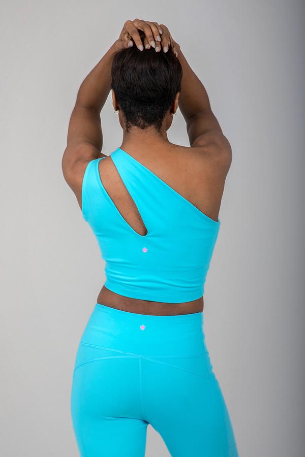 Seva One Shoulder Yoga Crop Top (Calypso)