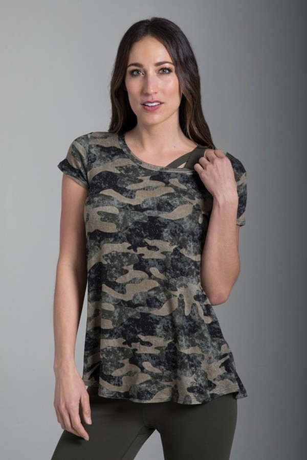 Camo Short Sleeve Yoga Tee