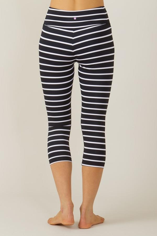 Grace Ultra High Waist Yoga Capri (Black Stripe)