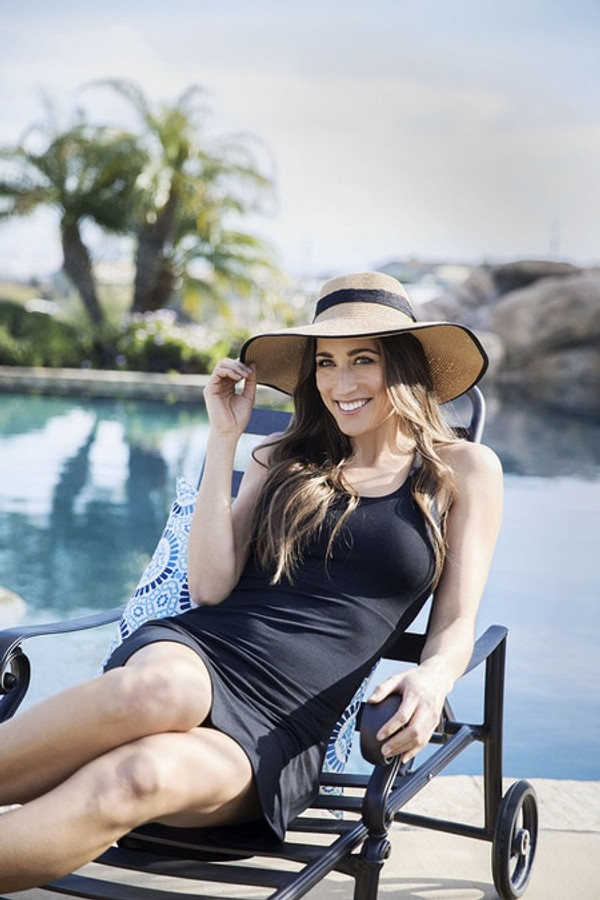 Black Yoga Beach Dress Poolside