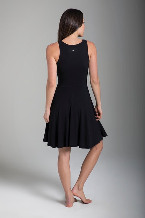 Black Fit & Flare Yoga Dress back view
