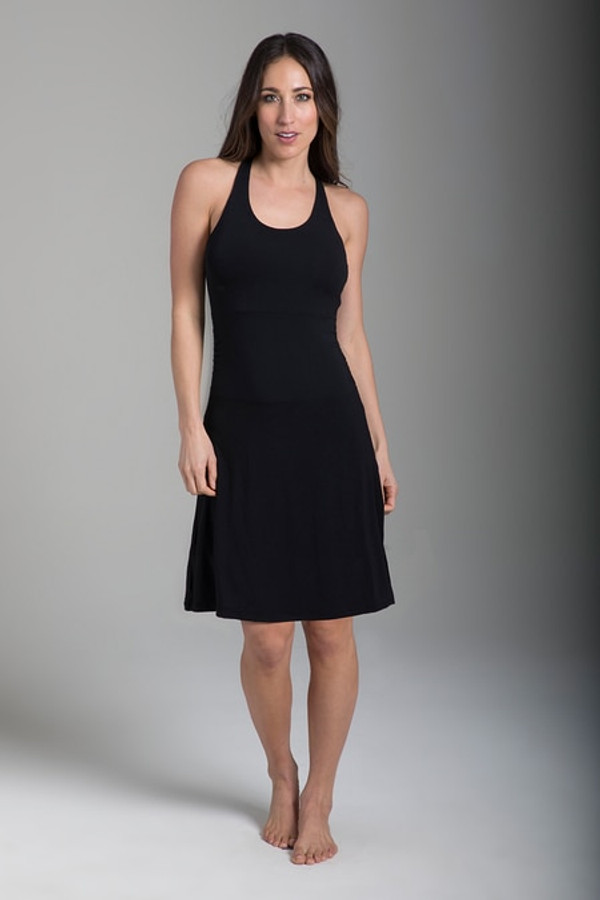 Shirred T-Back Yoga Dress (Black)