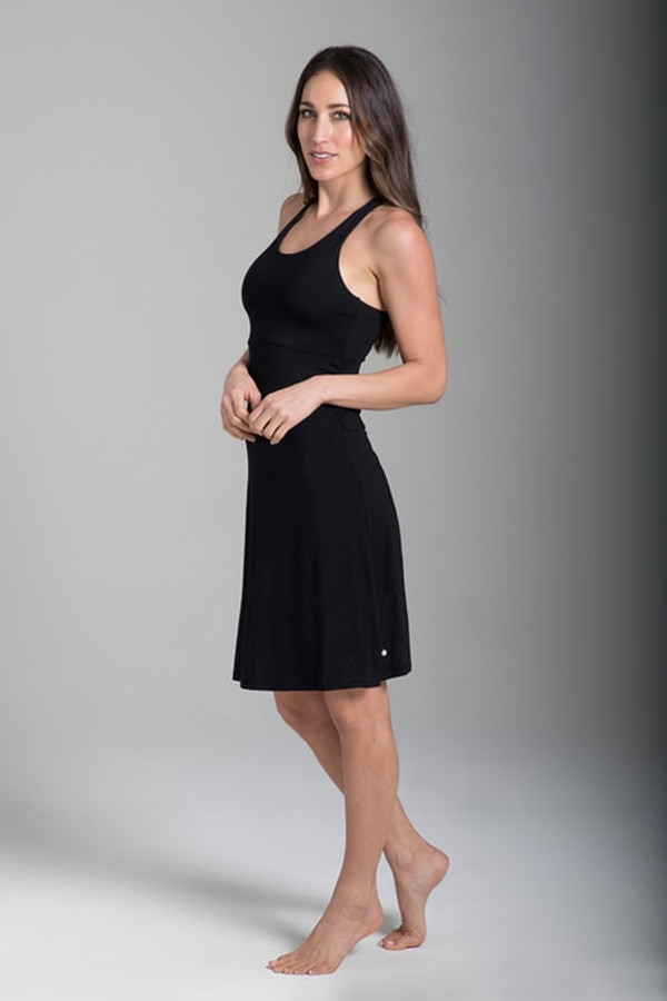 Shirred T-Back Yoga Dress (Black)