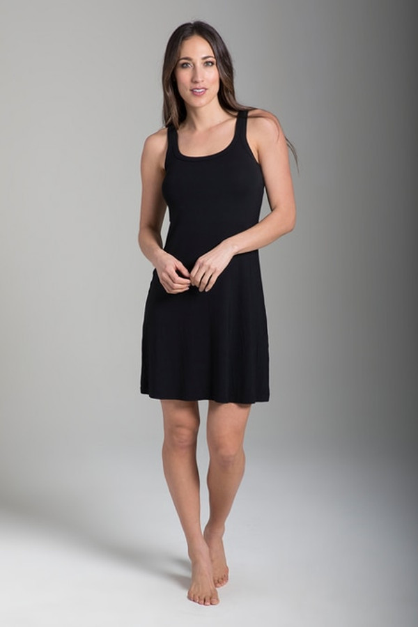 Easy Tank  Dress in Black front view