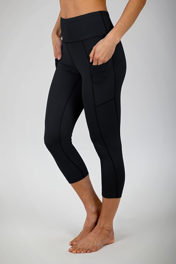 Ultra High Waist Pocket Yoga Capri (Black)