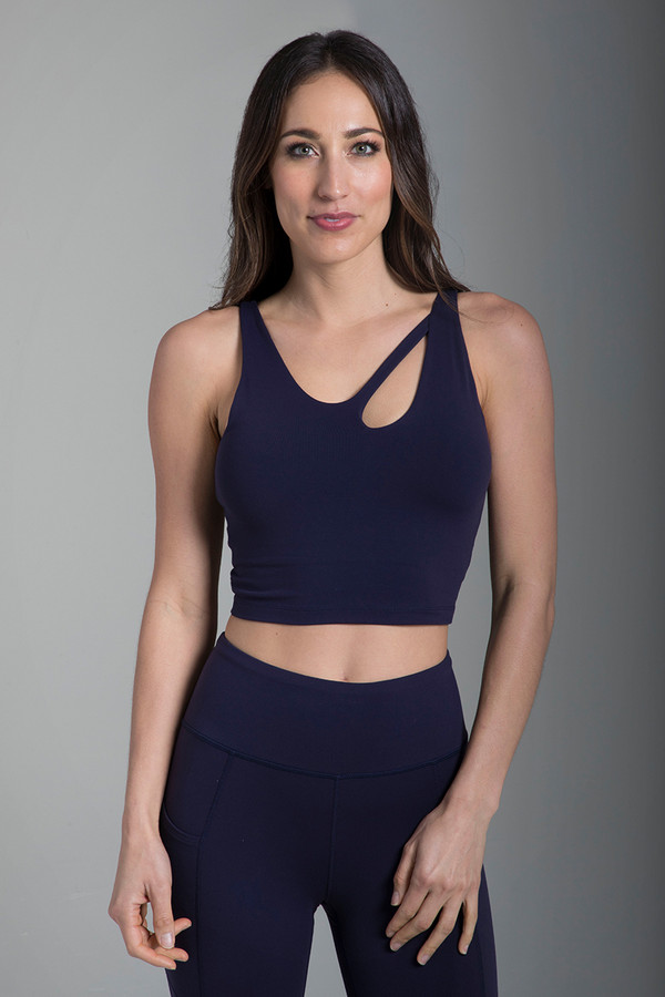 Seva Warrior Yoga Crop Top in Navy
