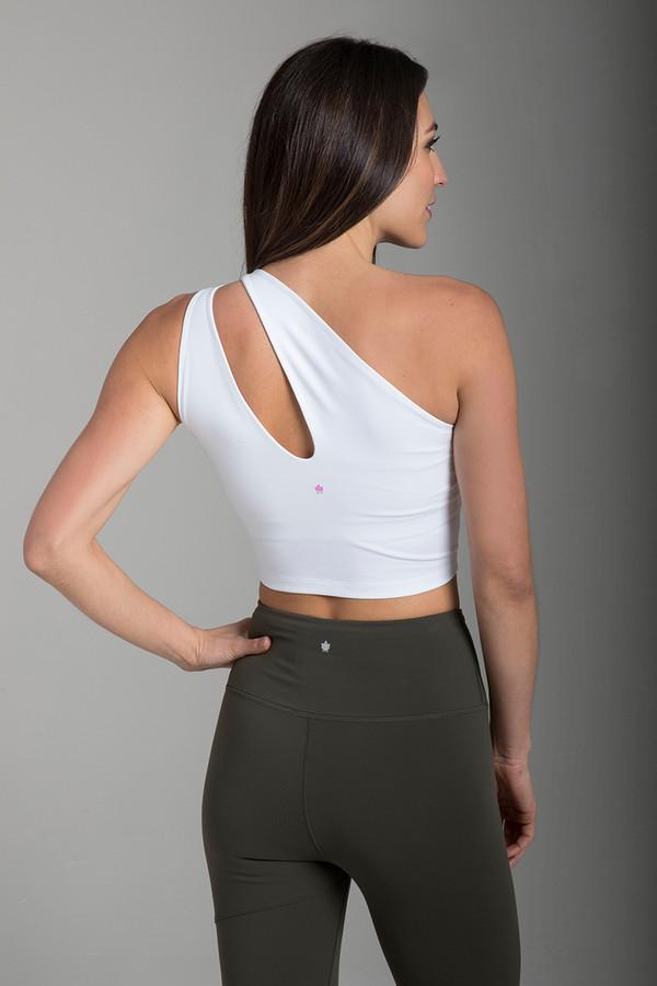 Seva One-Shoulder Yoga Crop Top in White