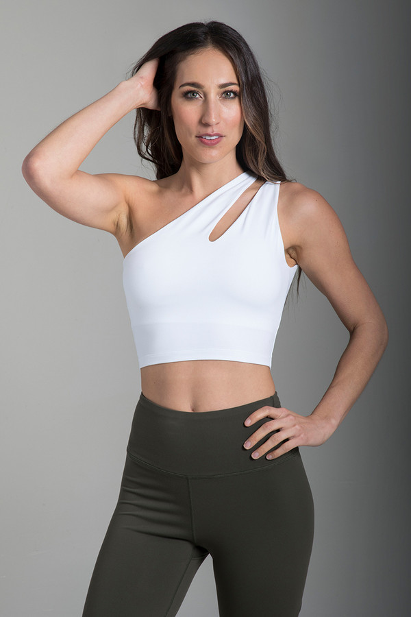 18ffe7ee0ce72 The Total Package Yoga Outfit. Seva One-Shoulder Yoga Crop Top in White