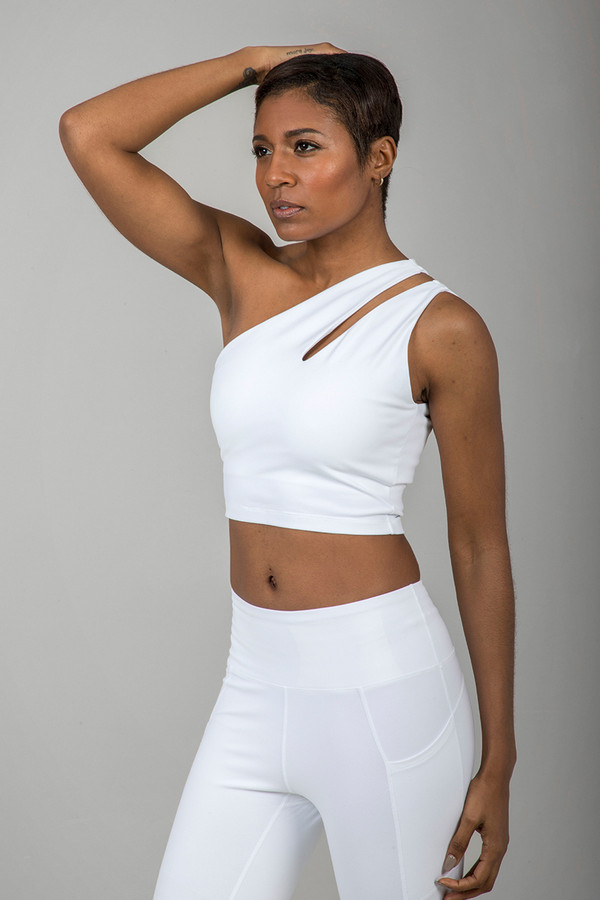 Seva One-Shoulder Crop Top in White