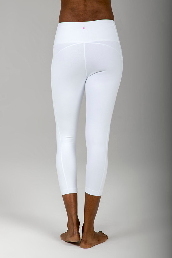 Ultra High Waist Pocket Yoga Capri in White