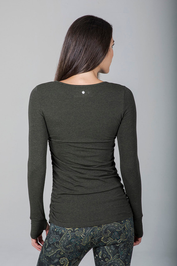Side Ruched Long Sleeve Top (Forest Night Heather)