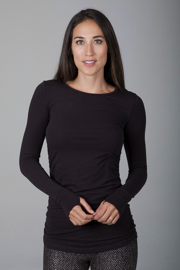 Side Ruched Long Sleeve Top (Coffee)