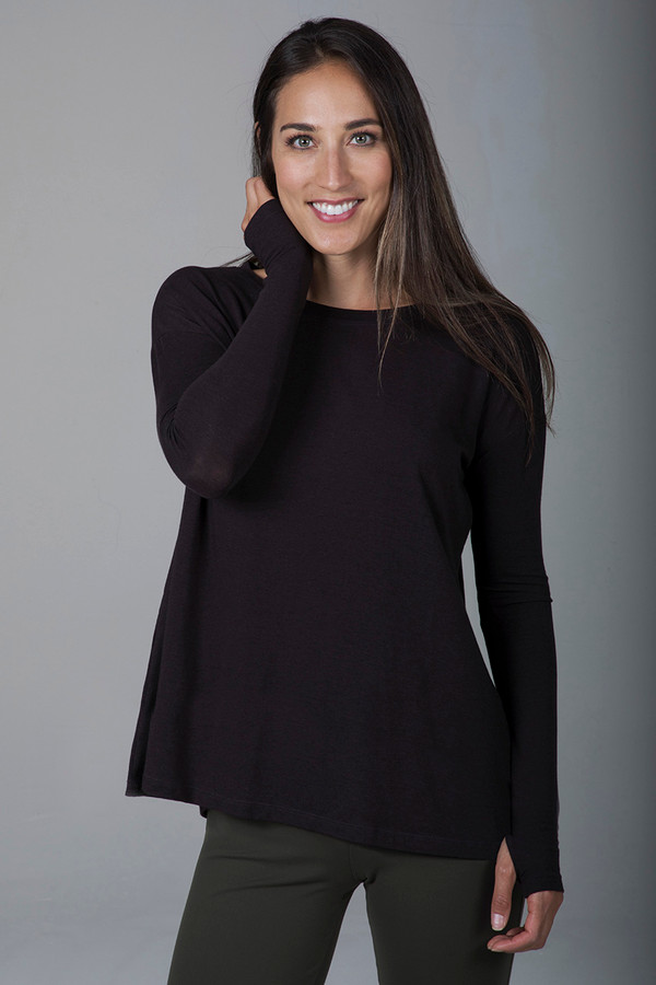 Perfect Long Sleeve Yoga Tee (Coffee)