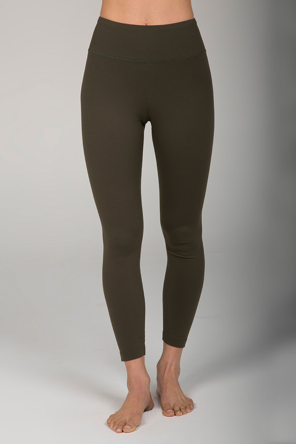Army Green High Waist 7/8 Yoga Pants front view