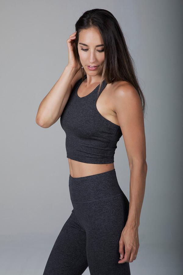 Grace Vinyasa Yoga Crop Top (Charcoal Heather)