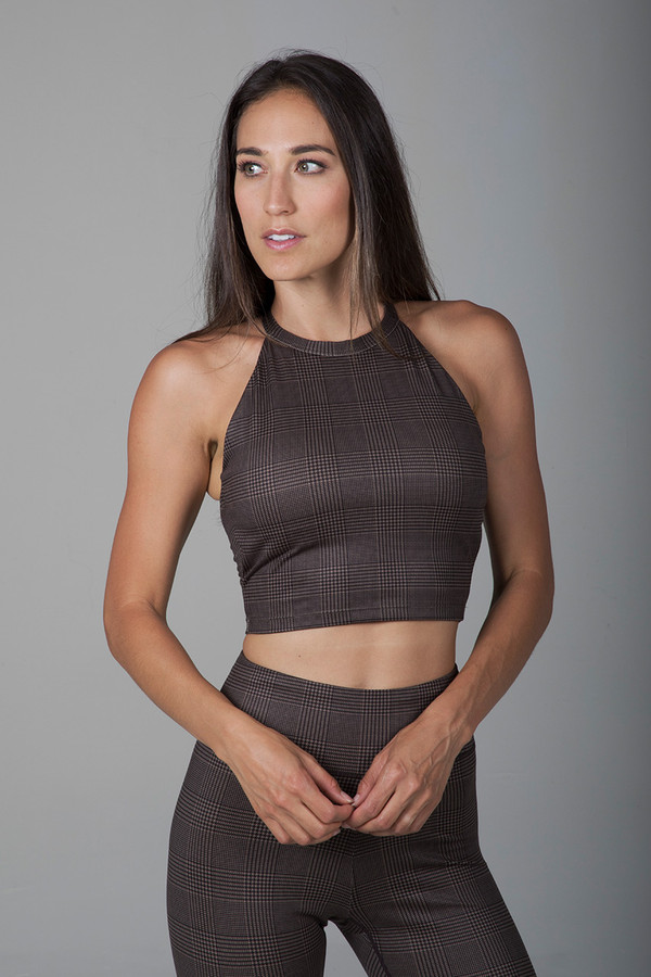 Grace Yoga Halter Crop Top (Prince of Wales Plaid)