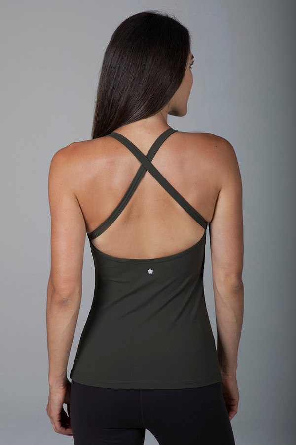 Criss-Cross Back Yoga Tank Top in Dark Green back view