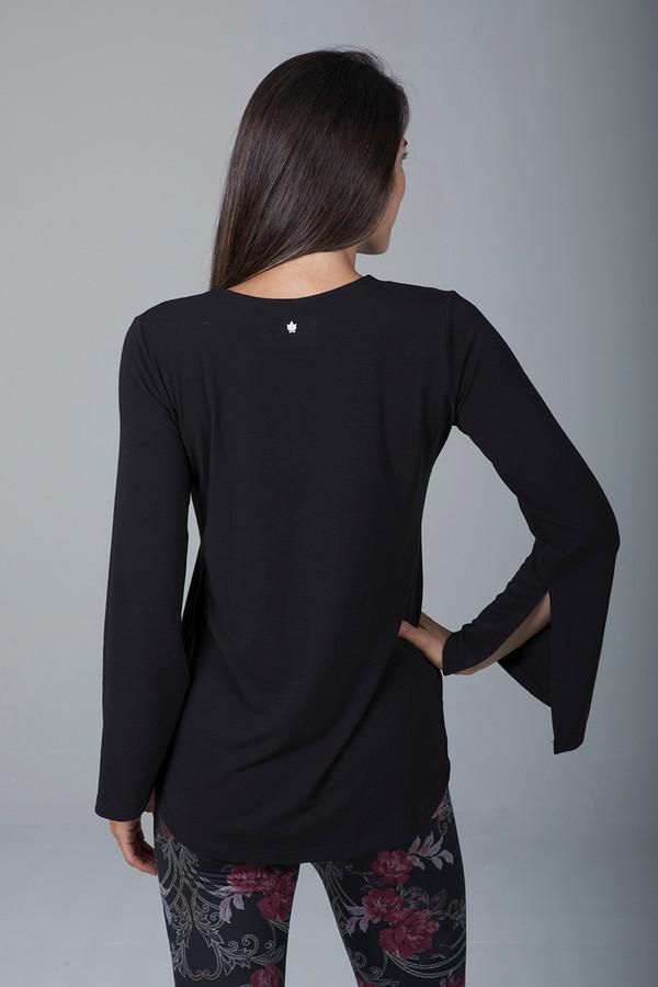 Slit Long Sleeve Yoga Tunic (Black)