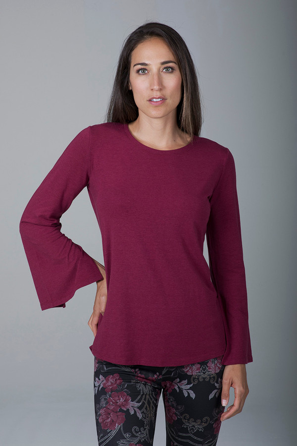 Slit Long Sleeve Yoga Tunic (Brandy)