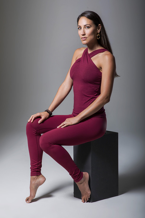 High Waist Yoga Leggings and Halter Red Activewear Outfit