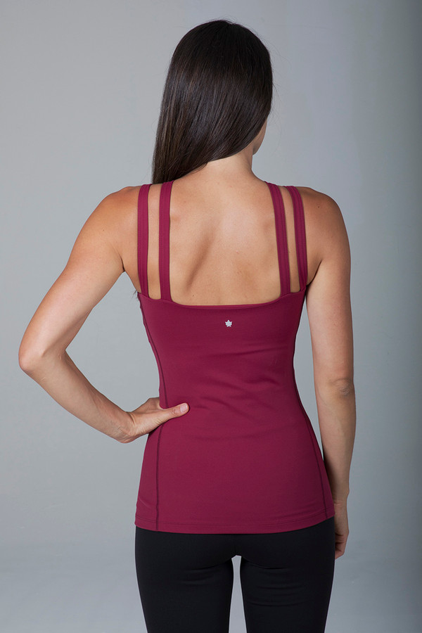 Wine Red Double Strap Open Back Tank Top back view