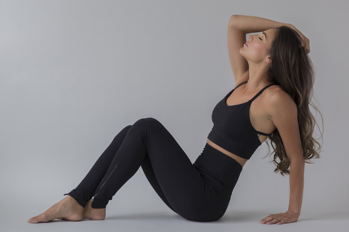 Black Long and Lean Tight and Crop Top Yoga Outfit