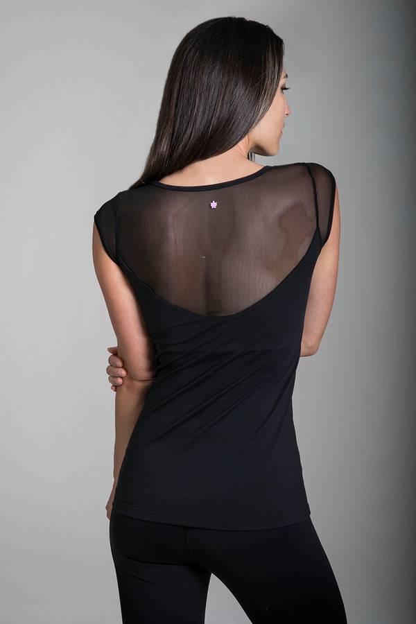 Black Mesh Plunge Back Yoga Shirt back view