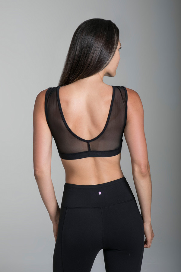 Crescent Mesh Bra (Black)