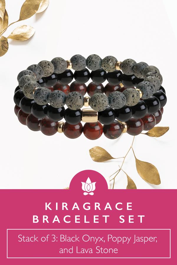 KiraGrace Bracelet Set: Black Onyx, Lava Stone & Poppy Jasper