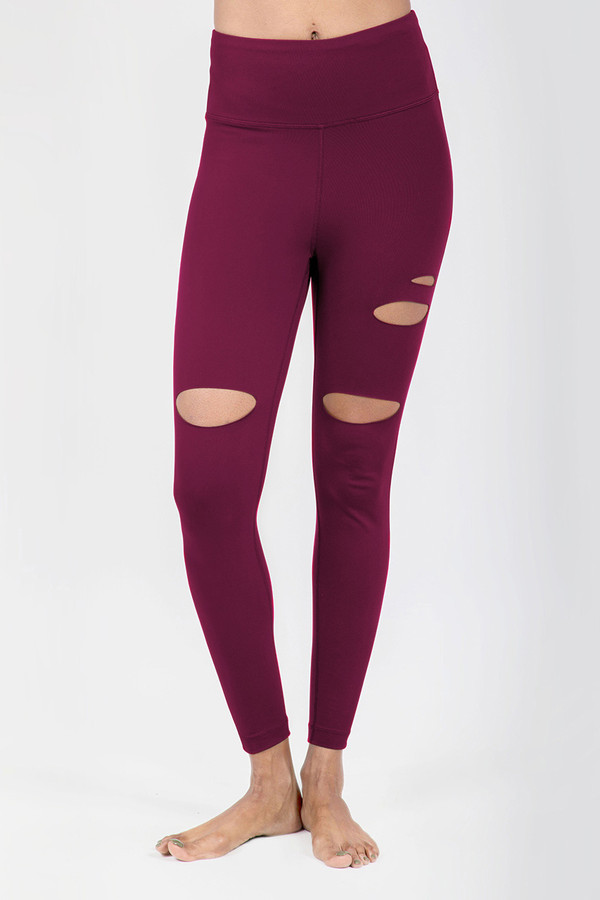 Slashed 7/8 Yoga Legging in Red Wine Brandy front view