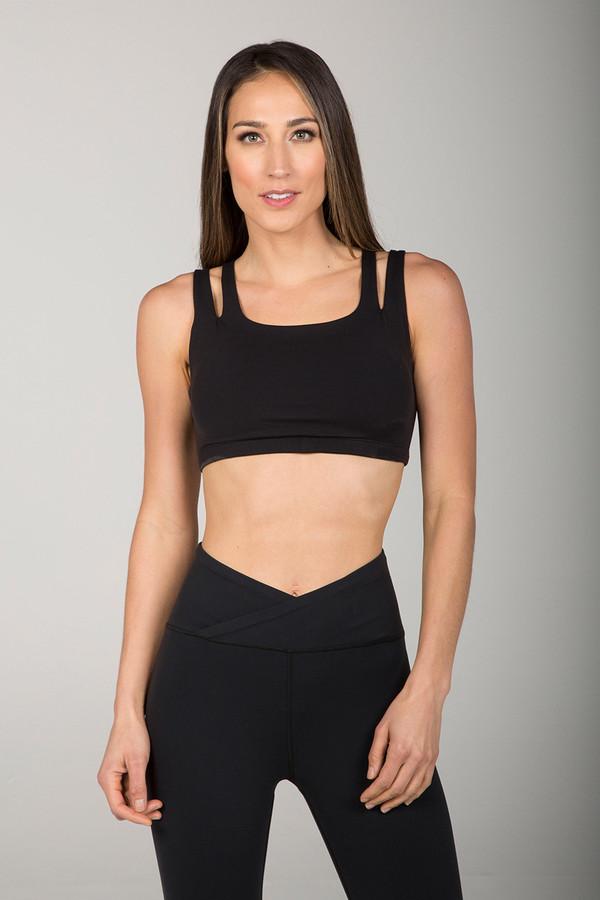 Black Double Strap Yoga Bra front view