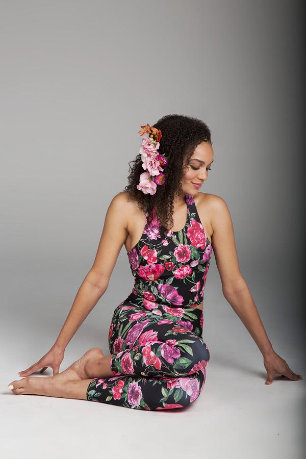 Pink & Black Botanica Yoga Crop Top and Legging Outfit
