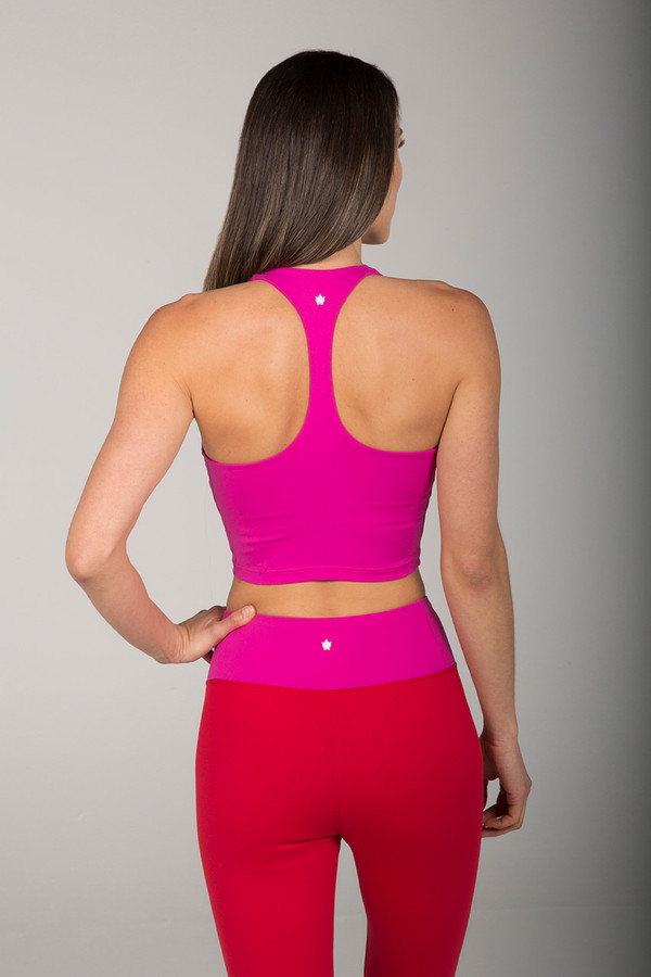 Hot Pink Fuchsia Cropped Racerback Tank Top back view