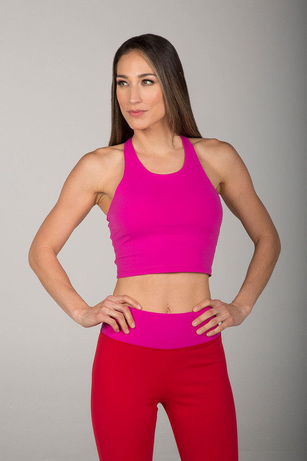 Supportive Racerback Crop Top in Fuchsia front view