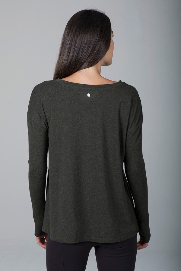 Perfect Long Sleeve Yoga Tee in Forest Night Heather