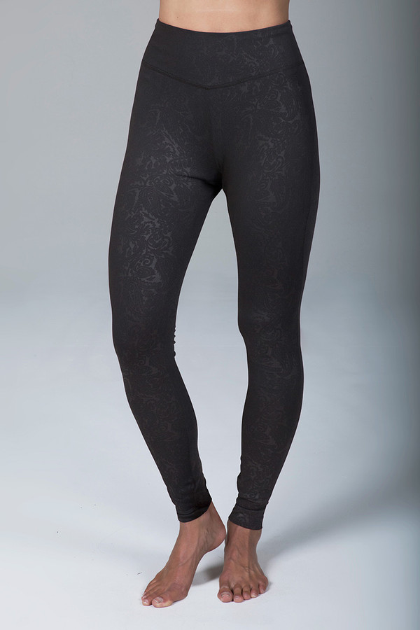 Grace Ultra High Waist Yoga Legging (Black Embossed Paisley)