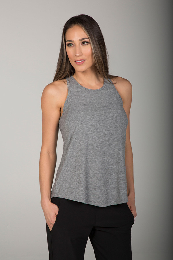 Long and Loose Yoga Racerback (Heather Grey)