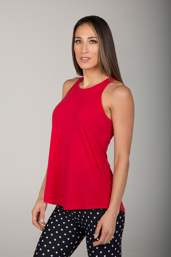 Long and Loose Yoga Racerback in Ruby Red