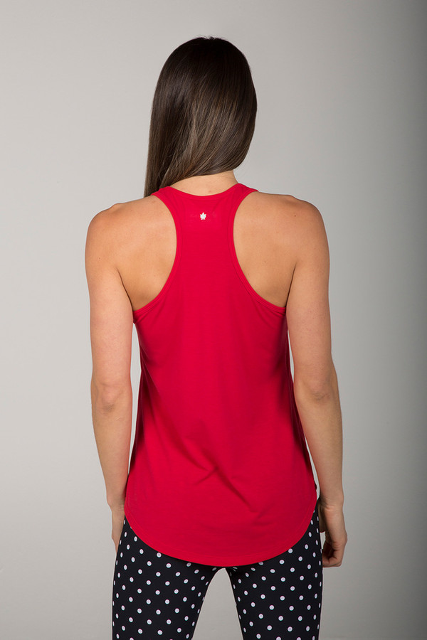 Soft Ruby Red Racerback Top with dot legging back view