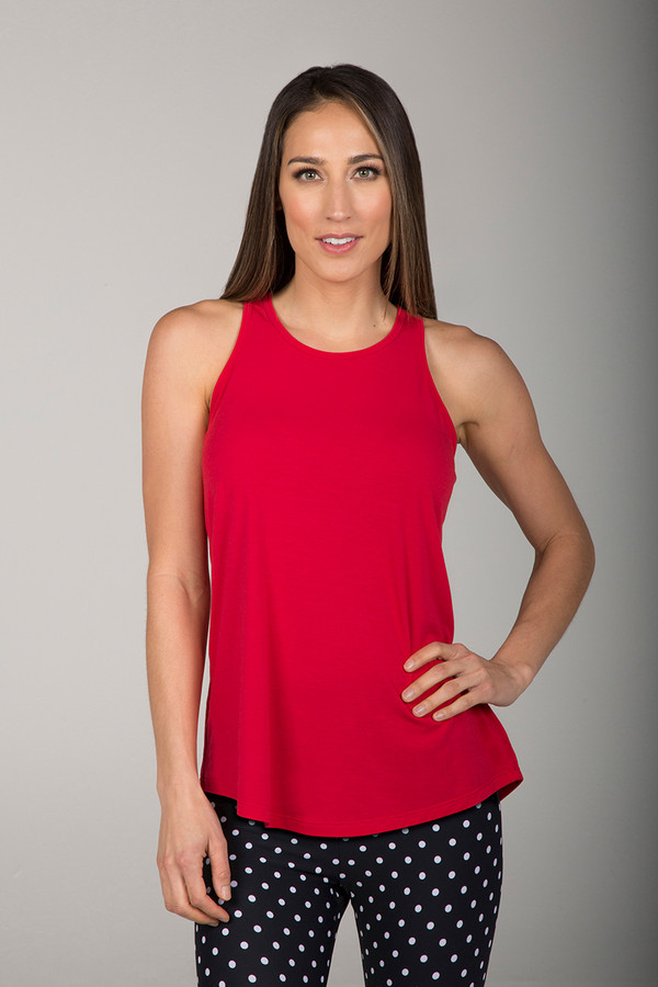 Red Hot High Coverage Loose Fitting Racerback Tank front view