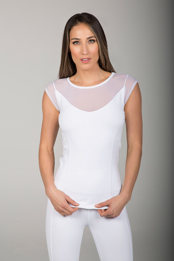 Crescent Mesh Yoga Cap Sleeve (White)