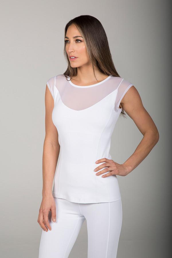 White Mesh Yoga Cap Sleeve  Top