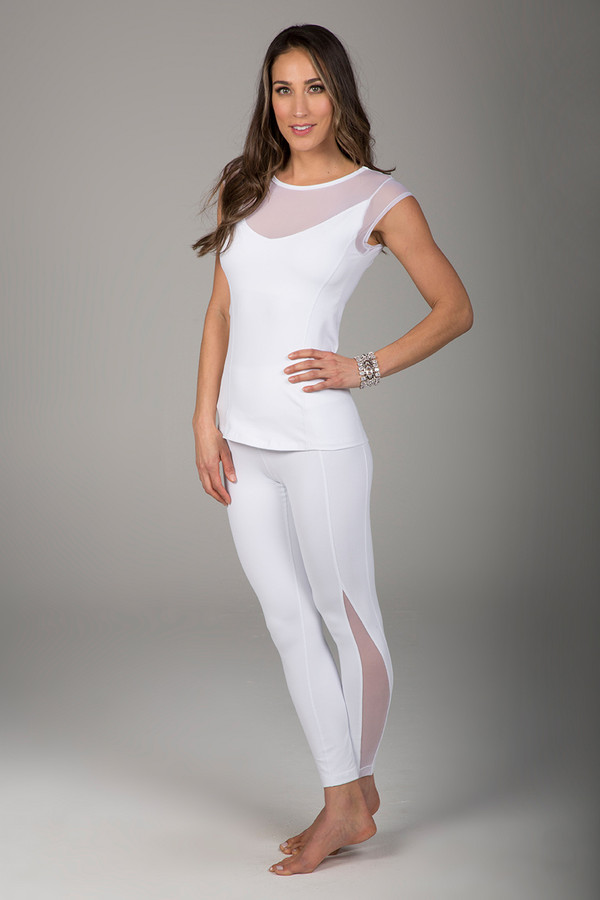 White Mesh Cap Sleeve and Mesh Legging Yoga Outfit