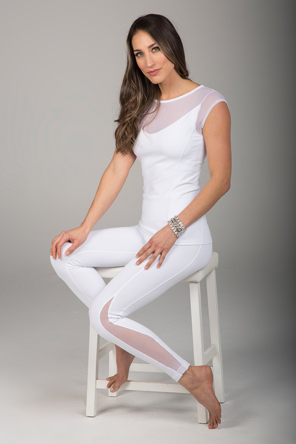 All White Mesh Yoga Top and Leggings Outfit
