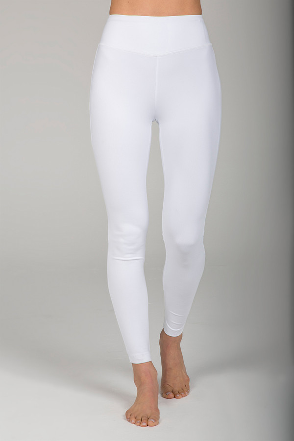 White High Rise Leggings with Hidden Waistband Pocket front view