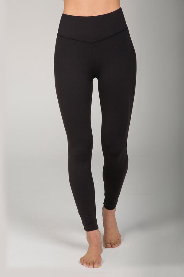 Elegant High Rise Corset Detail Black Yoga Leggings front view