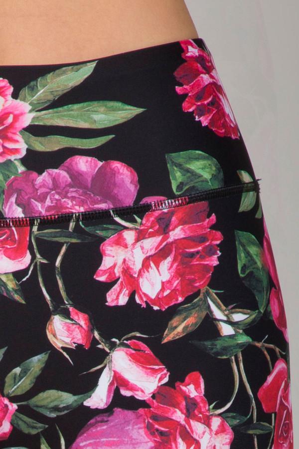 Pink Floral  Print on Black Background Black Botanica