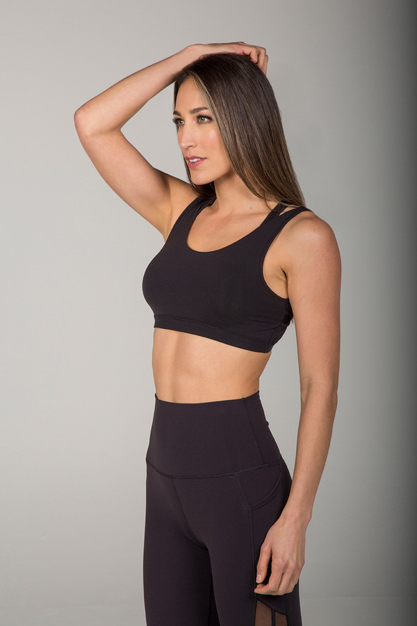 Dual Strap High Support Sports Bra in Black with Mesh Back