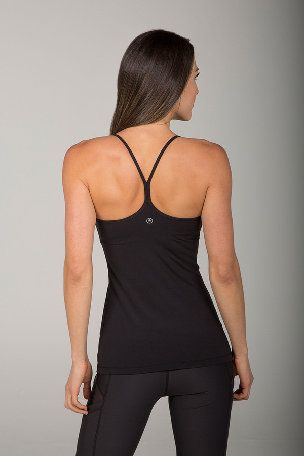 Thin Strap Y-Back Black Spell Tank Top back view
