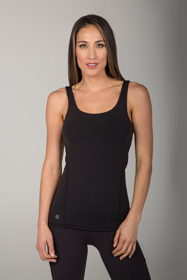 Supportive Black Tank Top with Scoop Neck front view